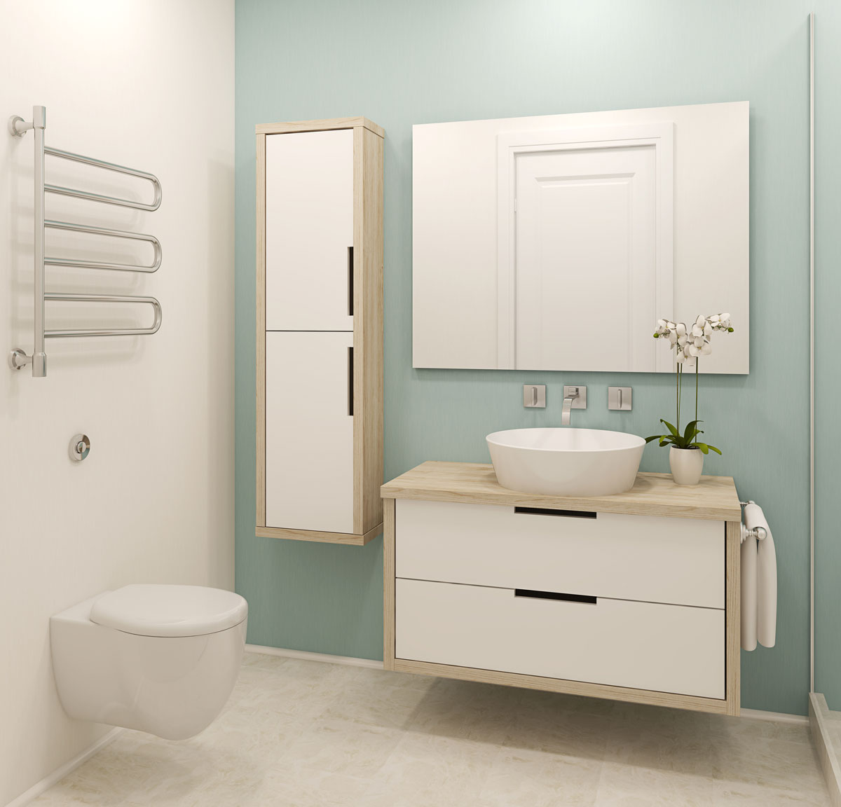 modern style remodeled bathroom
